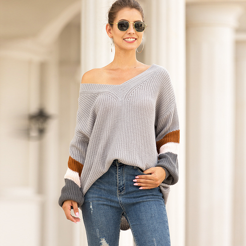 Knitted Striped V Neck Pullover Women 2019 Autumn Winter Fashion Grey Long Sleeve Sweater Female High Street Loose Mujer Jumper