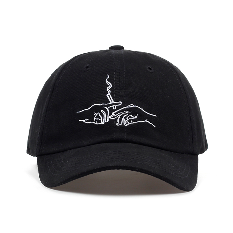 New Brand Smoke Baseball Cap Dad Hat For Men Women Embroidery Hands Smoke Pattern Trucker Cap Weed Bone Golf Baseball Hat