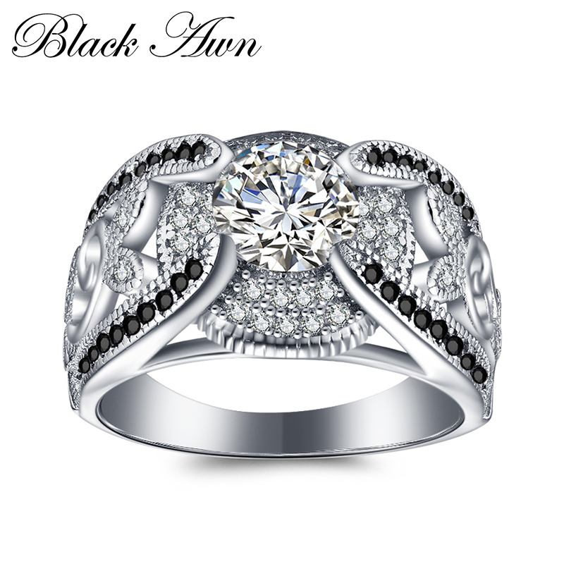 [BLACK AWN] 5.4Gram Genuine 925 Sterling Silver Jewelry Rings For Women Black&White Stone Femme Bague C321