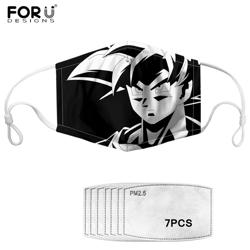 Dragon Ball Print Dustproof Mouth-Muffle Black And White Goku Cotton PM2.5 Mask 7Pcs Filter Anime Reusable Outdoor Face Masks