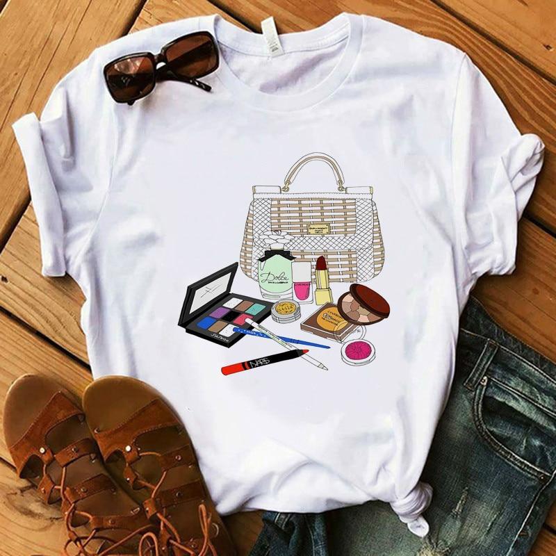 Vogue, женская футболка, роскошная, макияж, коллекционная губная помада вечерние футболки для девочек, 100% хлопок, летняя рубашка, женские