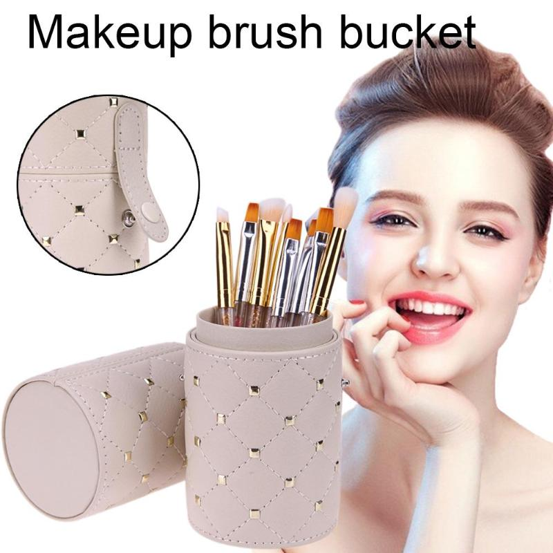 Fashion Makeup Brushes Holder Leather Rhombus Rivet Makeup Pen Storage Holder Cup W/Buckle For Makeup Brush Make Up Tools Hot