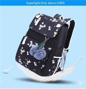 Image 3 - Fengdong ילדים בית ספר תרמיל עבור בנות בית ספר שקיות נשים כתף תיק פרווה כדור bowknot תרמילי לנערות dropshipping