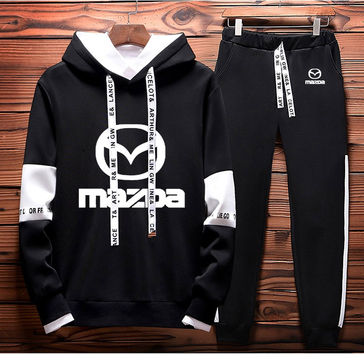 Mens Hoodies Sweatshirt Mazda Car Logo Printed Spring Autumn Hoodies+Pants 2Pcs Sporting Suit Fleece Warm Thick Sportwear