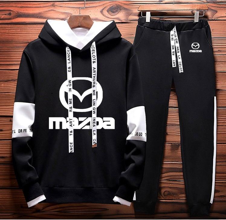 Mens Hoodies Sweatshirt Mazda Car Logo Printed Spring Autumn Hoodies+Pants 2Pcs Sporting Suit Fleece Warm Thick Sportwear
