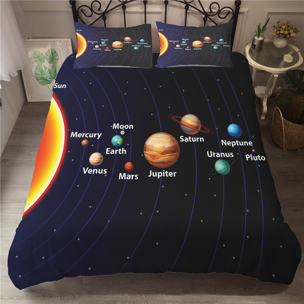 Bedding Set and Bed Sets Milky Way layout 3d Bed Linen Sets Space Ship Bedroom Bedding Duvet Cover Set image