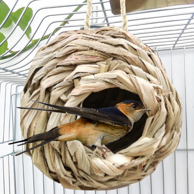5 Styles Birds Nest Bird Cage Natural Grass Egg Cage Bird House Outdoor Decorative Weaved Hanging Parrot Nest Houses Pet Bedroom 3