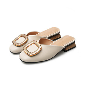 Image 5 - Closed Toe Mules Women Genuine Leather Low Heels Slippers Casual Metal Buckle Slip on Slides Shallow Loafers Big Size Shoes