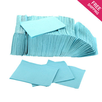 125pcs 3-Ply Dental Patient Bibs  Dental Double Layer Water-resistant Sheets Tattoo Accessories