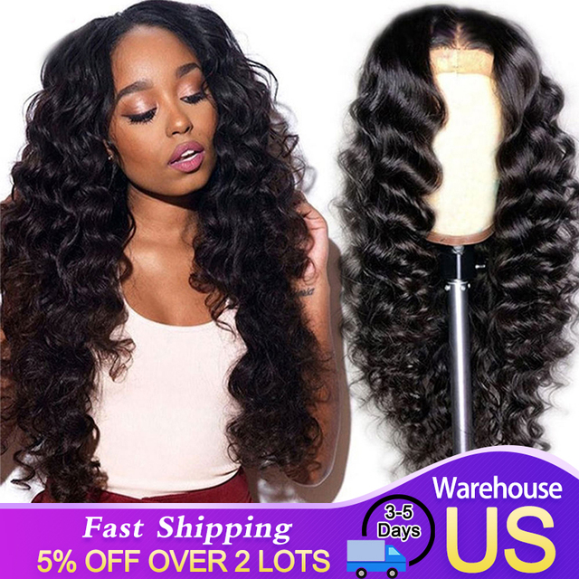 Perruque Lace Frontal Wig 360 péruvienne, cheveux humains Remy, Loose Wave, cheveux humains, 13x4/13x6, pour femmes africaines