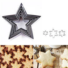 6 Pcs/Set 3D Cookie Mold Star High Quality Stainless Steel Biscuit Cookie Cutter Tools DIY Baking Pastry Modelling Tools