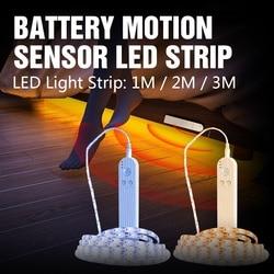 Светодиодные ленты с движения Сенсор DC5V SMD2835 шкаф лампа лента светодиодный светильник с Водонепроницаемый Батарея коннектора Тира ТВ для к...