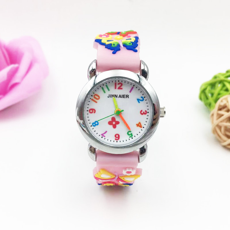 Fashion Children Watch 3D Animal Butterfly Jelly Silicone Kids Watches Prerry Girl Cartoon Wristwatch Student Ladies Clock Gifts