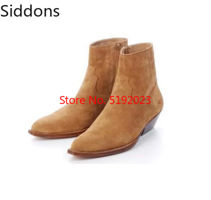 Hot Sale Pu Leather Wyatt Ankle Boots Men Chelsea Boots Stacked Heel Military Zapatos Men Shoes Zapatos De Hombre D314