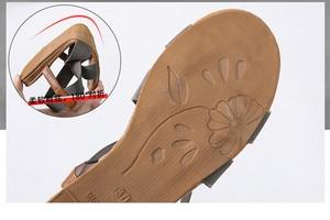 Image 5 - סנדלים שטוחים נשים נעלי גלדיאטור בוהן פתוח אלסטי שטוח סנדלי נקבה מקרית נשים של שטוח פלטפורמת חוף נעליים