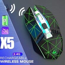 2.4G Mouse Senza Fili 800/1600/2400 DPI Tre Modalità Mute Ricaricabile Mouse Da Gioco 6 Bottoni Del Mouse Per Il Computer Portatile PC