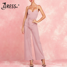 INDRESSME 2019 New V Neckline Spaghetti Straps Sashes With Buckles Jumpsuit Straight Pants v neckline pleated waist jumpsuit