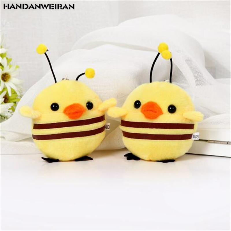 1Pcs 13CM New Creative Christmas Gift Chick Turned Into A Bee Doll Pendant Plush Toy Animal Stuffed For Girls&Boys HANDANWEIRAN