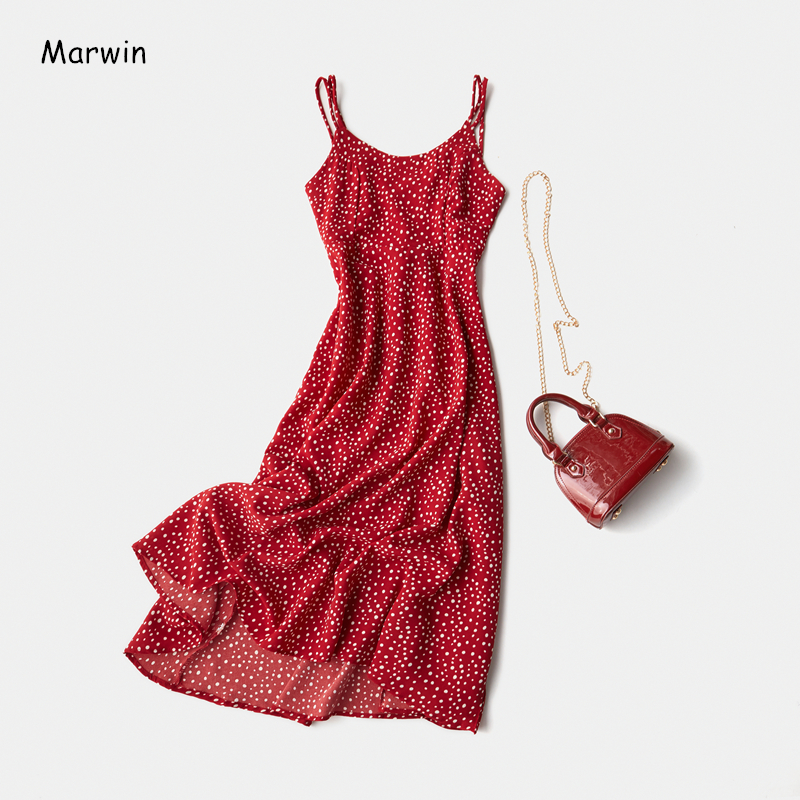 Marwin 2020 New-Coming Spring Summer Holiday Dress Cross Spaghetti Strap Open Back Dot Beach Style Ankle-Length Women Dresses