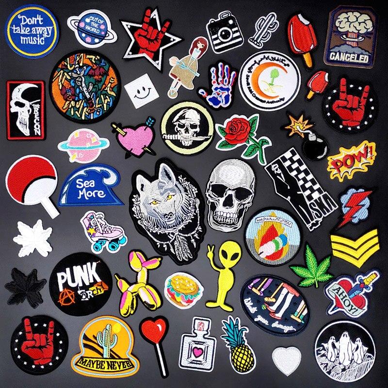 В стиле панк Рок Череп нашивки на одежду Вышитые заплаты логотипа шитья и симпатичными аппликациями эмблема на ткани DIY аксессуары для одеж...