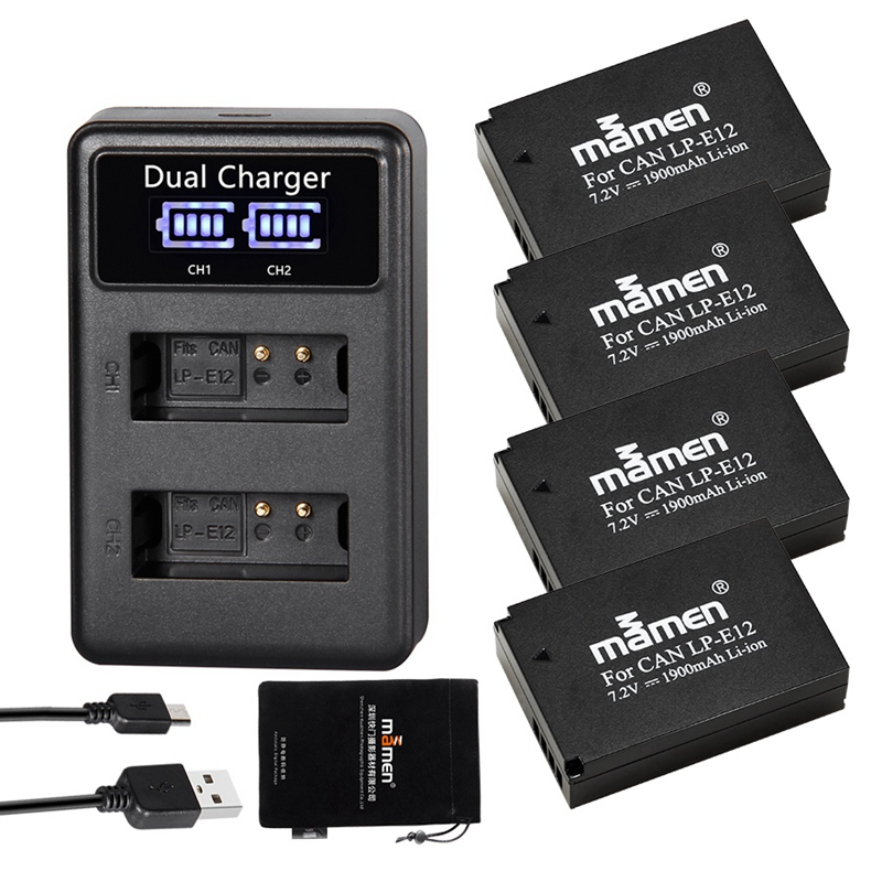 Mamen Rechargeable 4Pcs 1900MAh LP-E12 LPE12 LP E12 Digital Camera <font><b>Battery</b></font> + LCD USB Charger for <font><b>Canon</b></font> <font><b>100D</b></font> Kiss X7 SL1 M10 M50 image