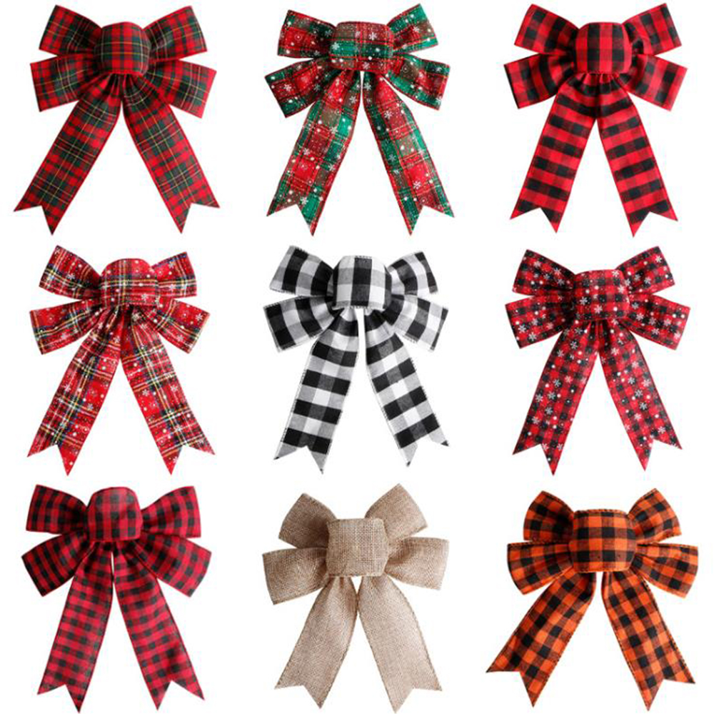 Christmas Tree Big Red Tottest Linen Plaid Bowknot Handmade Gift Box Wrapping Decorative Large Bows New Year Party Wedding Decor