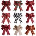 Рождественская елка с большим красным Tottest льняные клетчатые ручная работа, Подарочная коробка для упаковки декоративные большие банты на ...