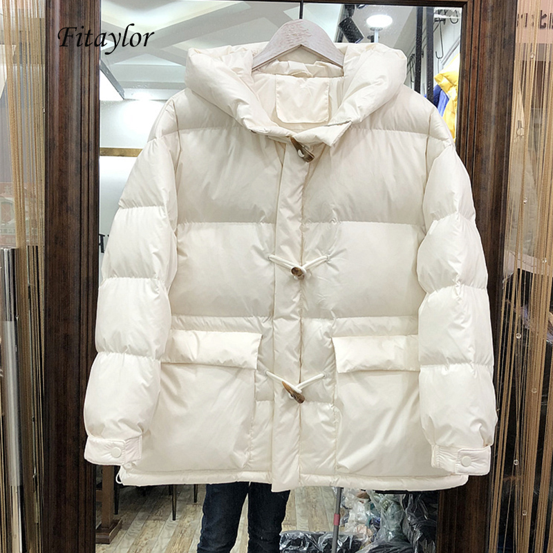 Fitaylor 2020 Winter Horn Button Ultra Light 90% White Duck Down Parka Women Warm Thick Loose Bread Hooded Down Jacket Overcoat