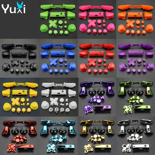 YuXi For Xbox One S Replacement Full Chrome Buttons Kit ABXY Trigger analog stick Parts for Xbox One Slim