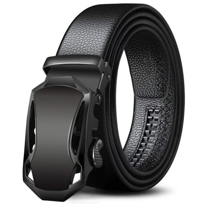 Fashion Automatic Buckle Belts Men Black Leather Belt Men's Buckle Free Belts Waist Strap Belts For Men 3.5cm Width 120cm