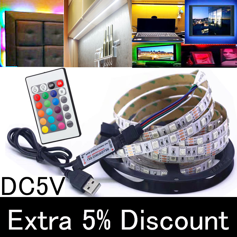 LED Under Cabinet Light LED Strip Led Lamp With USB Port Light Flexible Rgb Closet Stairs Wardrobe Bed Side Light