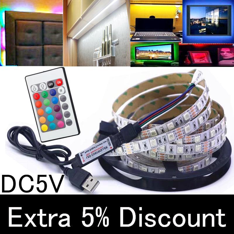 LED Under Cabinet Light LED Strip Led Lamp With USB Port Light Flexible Rgb Closet Stairs Wardrobe Bed Side Light