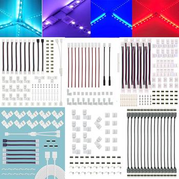 5050 4-Pin listwy RGB LED złącze światła zestaw z T w kształcie litery L pasek swetry taśmy klipy drutu zacisk przyłączeniowy Splice taśmy LED tanie i dobre opinie STATICROUTE Światła Linie CN (pochodzenie) white 2 Pin 4Pin LED Strip Light Connector LED Light Strip Connector 12-24V
