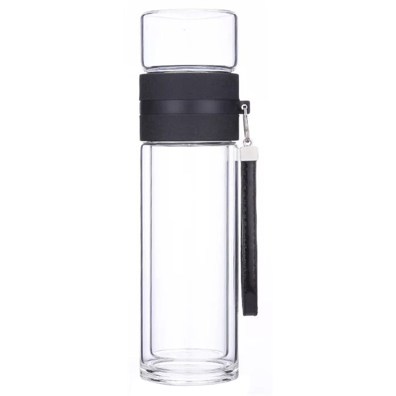 HLZS-350Ml Travel Drinkware Portable Double Wall Glass Tea Bottle Tea Infuser Glass Tumbler Stainless Steel Filters The Tea Filt