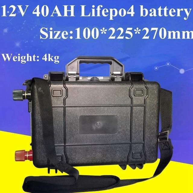 12V 40Ah LiFepo4 Bateria à prova d água para a Energia Solar Luz de Rua Solar Do Sistema Elétrico Da Motocicleta Armazenamento UPS de Energia + 5A carregador