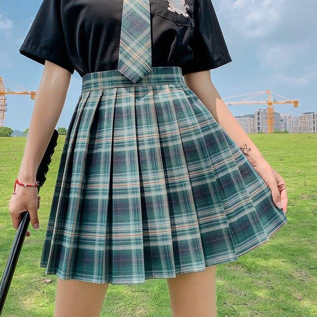 Kawaii Skirt Harajuku Plaid Pleated Mini Skirt 2021 Women Girl Summer High Waist Cosplay Lolita Preppy Style Sweet School JK1001 2