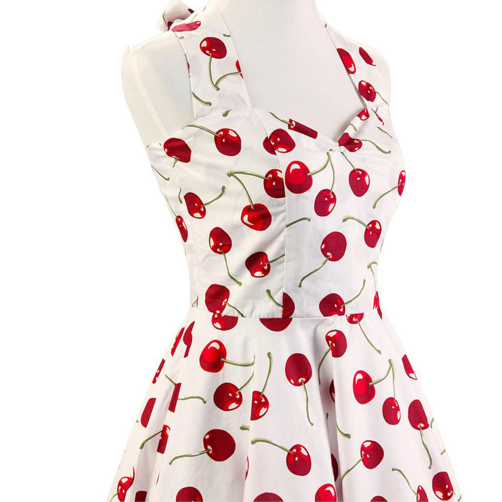 2020 Halter Pin Up Audrey hepburn 50s 60s Vintage Dress Short Vintage Cherry Print Floral Swing Retro Rockabilly Summer Dress