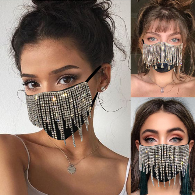 #30 1PC  Women's Sequin Mask Fashion Club Face Mask Flash Diamond Jewelry Tassel Pendant Party Mask mascarillas adultos 1