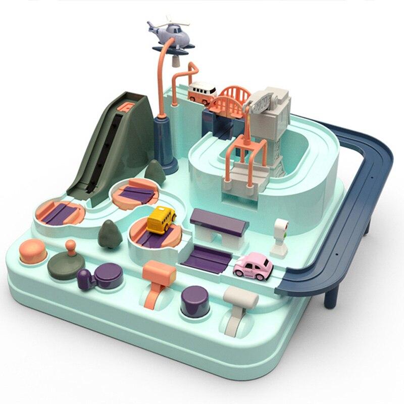 Juguete educativo de coche de juguete ecológico de aventura para bebés, juego de mesa de Color Macaron para niños y niñas, juguetes de rompecabezas