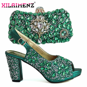 Image 3 - 2019 Christmas Restriction African Women Shoes Matching Bag in Green Color High Quality Italian Ladies Comfortable Heels For Par