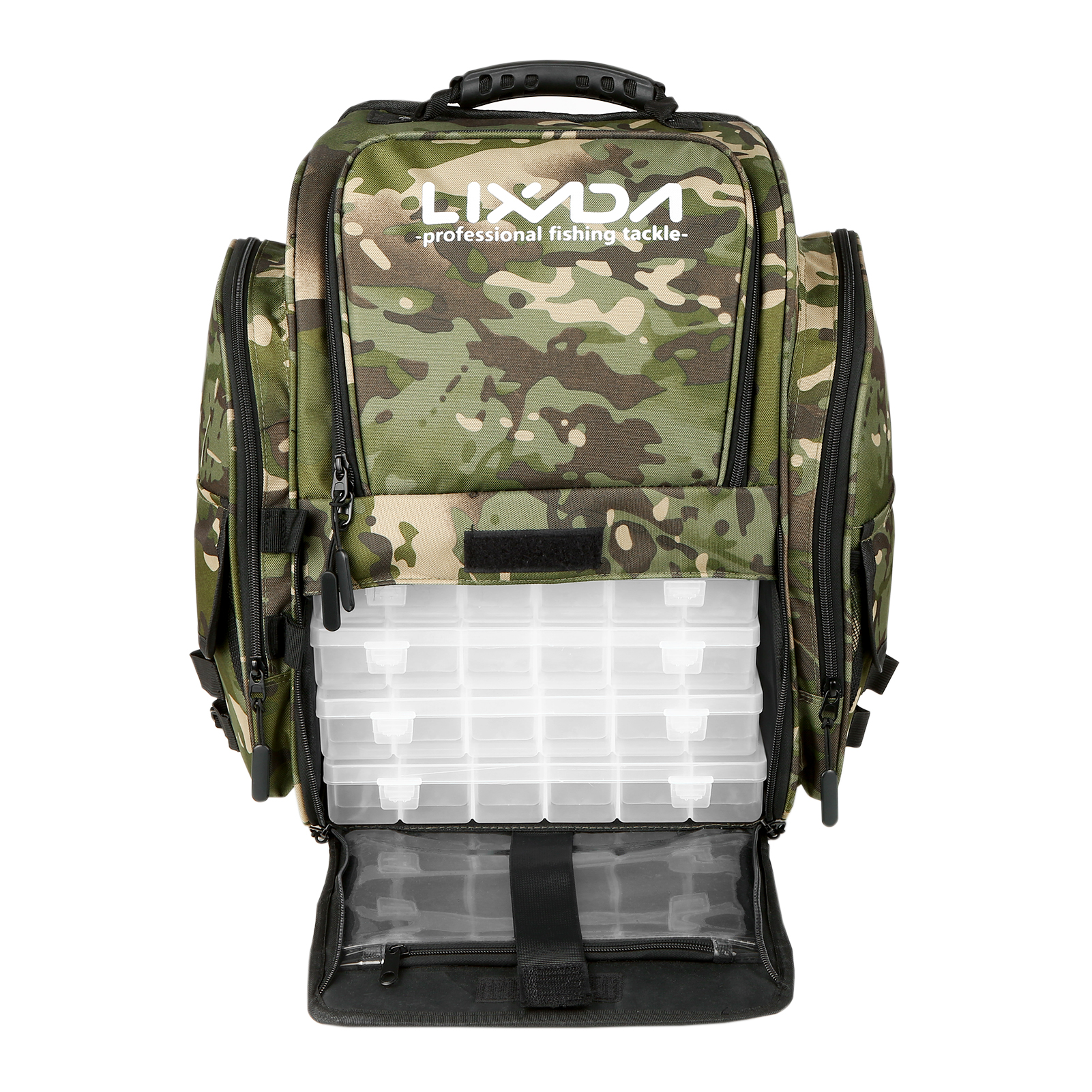 Fishing Tackle Backpack with 4 Trays Large Tackle Storage Bag with Rain Cover Outdoor Shoulder Backpack Fishing Gear Bag