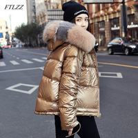 FTLZZ 2019 Winter Jacket Women White Duck Down Jacket Big Aritificial Fur Outwear Waterproof Loose Coat Thick Warm Down Parka