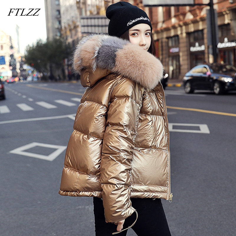 FTLZZ 2020 Winter Jacket Women White Duck Down Jacket Big Aritificial Fur Outwear Waterproof Loose Coat Thick Warm Down Parka