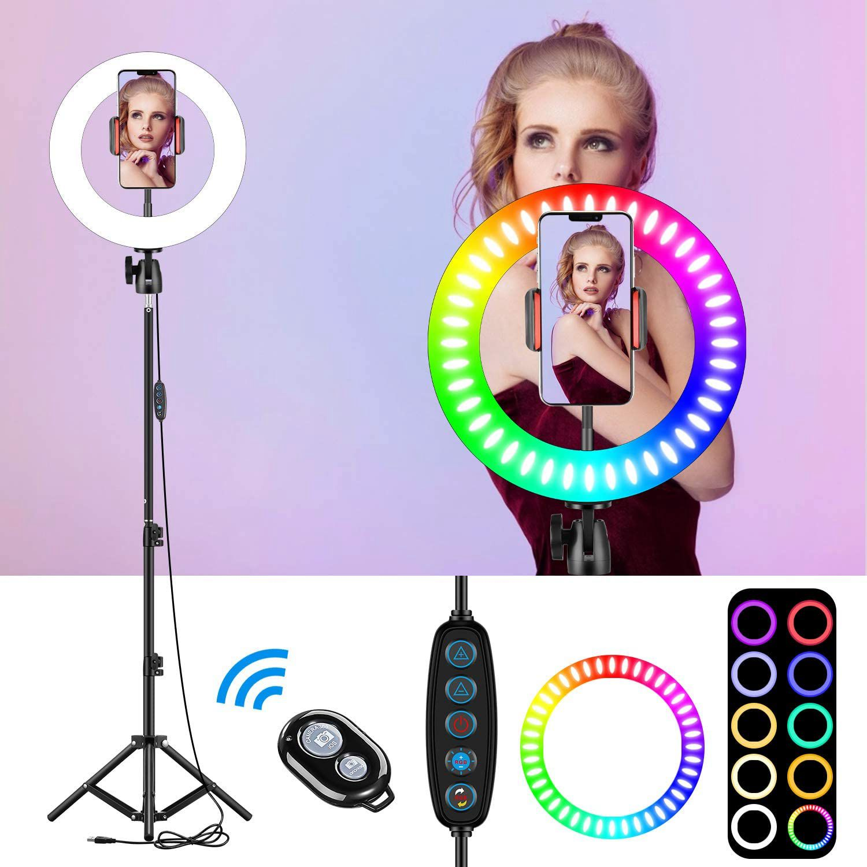 """10 """"RGB Selfie LED halka ışık 26 renk modu ile 1.6m Tripod standı telefon tutucu için canlı akış/makyaj/youTube/TikTok halka"""