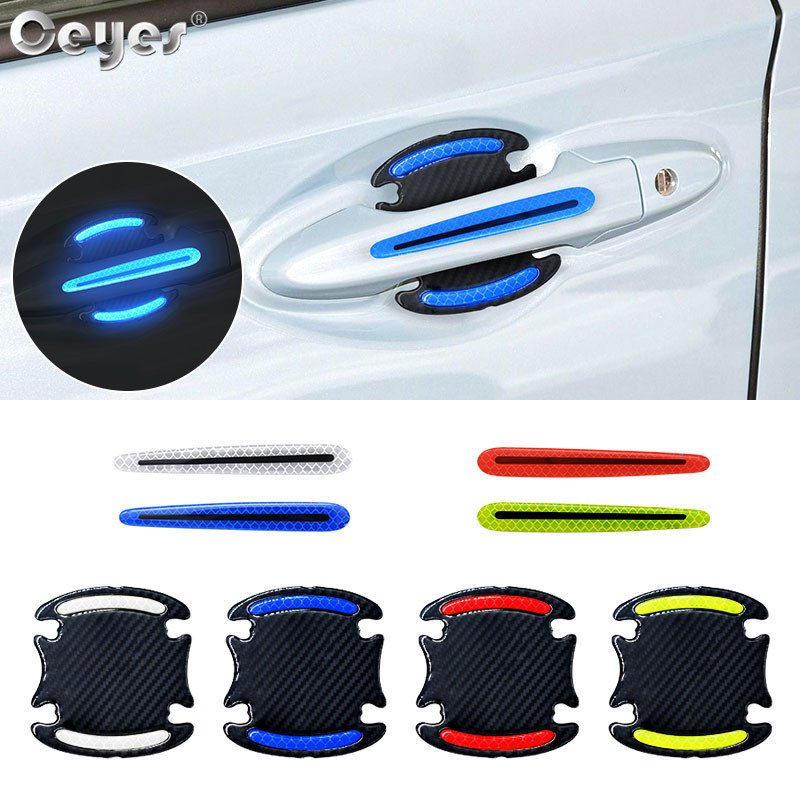 Ceyes 4pcs Car Accessories Door handle Sticker Decal Warning Reflective Tape Auto Reflective Strips Driving Safety Mark Styling(China)