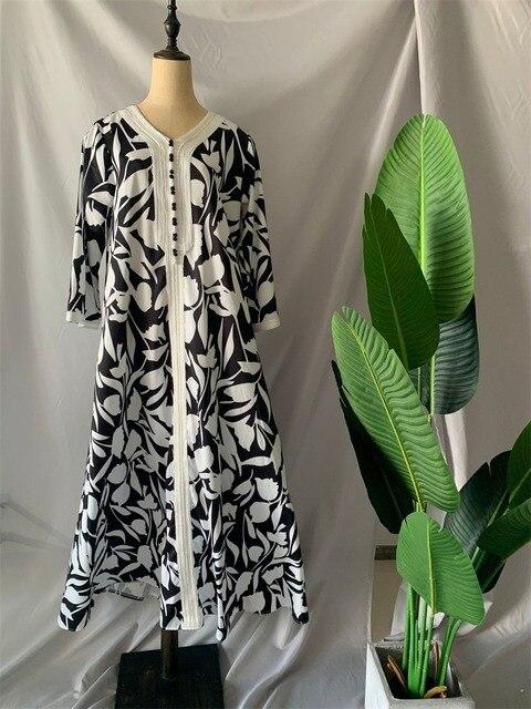 Ethnic Abaya Dress for Women Elegant Ribbon V Neck Long Sleeve Loose Plus Size Moroccan Turkey Arabic Muslim Clothes 4