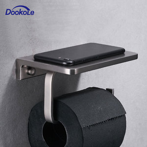 Image 1 - Bathroom Paper Tissue Holder with Phone Shelf Wall Mount, Toilet Paper Holder with Mobile Phone Storage Shelf Brushed Nickel