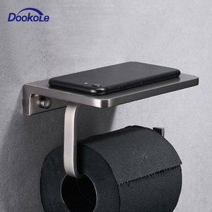 Image 1 - Suporte de papel higiênico para banheiro, suporte de parede com prateleira para telefone celular, níquel escovado