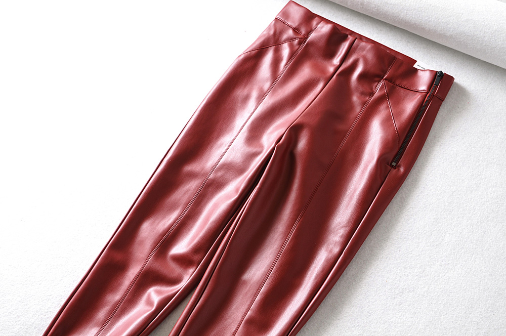 Tangada women white skinny PU leather pants stretch zipper female autumn winter pencil pants trousers 6A04 61