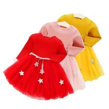 Детское платье принцессы для девочек; Одежда с длинными рукавами вязаное платье для От 0 до 4 лет день рождения платья для маленьких девочек, ...